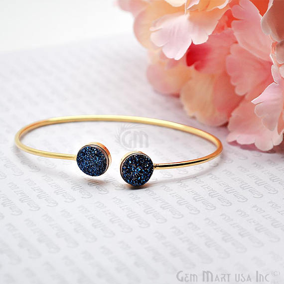 Double 10mm Round Druzy Gemstone Adjustable Gold Plated  Stacking Bangle Bracelet