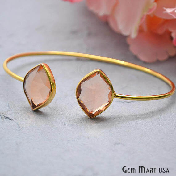 Morganite Marquise Shape Handmade AdjustaBle Gold Plated Stacking Bangle Bracelet