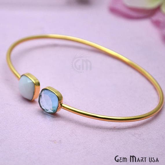 Agate & Blue Topaz Cushion Shape Adjustable Gold Plated Stacking Bangle Bracelet