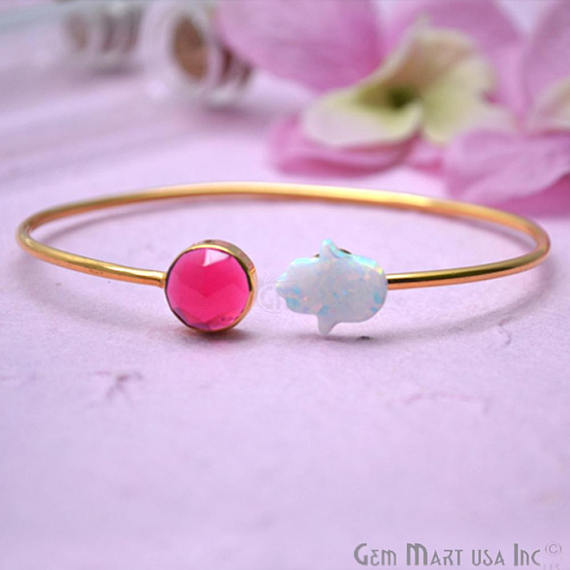 Pink Tourmaline & White Opal Adjustable Interlock Gold Plated Stacking Bangle Bracelet