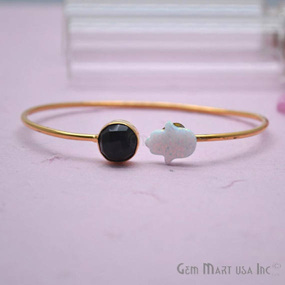 Black Onyx & White Opal Handmade Adjustable Interlock Gold Plated Stacking Bangle Bracelet