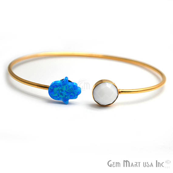 White Agate & Opal Adjustable Interlock Gold Plated Stacking Bangle Bracelet