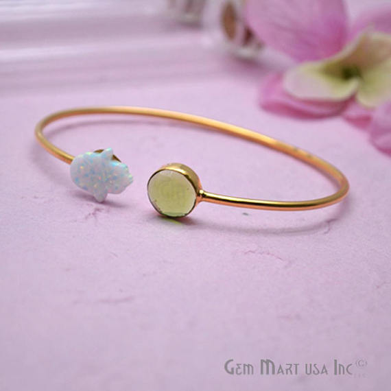 Peridot & Opal Handmade Adjustable Interlock Gold Plated Stacking Bangle Bracelet