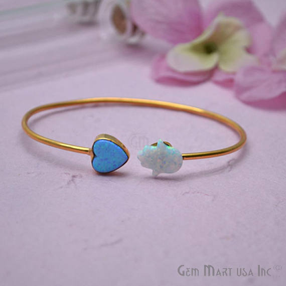 Opal Heart & Hamsa Shape Adjustable Interlock Gold Plated Stacking Bangle Bracelet