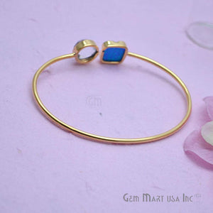 Crystal & Opal Handmade Adjustable Interlock Gold Plated Stacking Bangle Bracelet