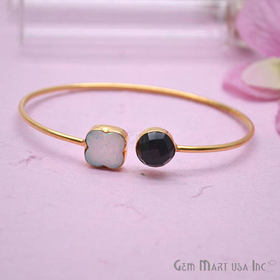 Black Onyx & Opal Handmade Adjustable Interlock Gold Plated Stacking Bangle Bracelet