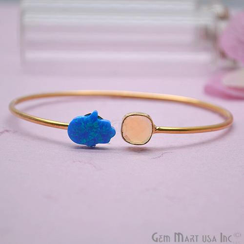 Citrine & Opal Handmade Adjustable Interlock Gold Plated Stacking Bangle Bracelet