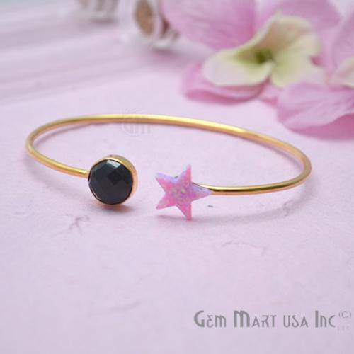 Black Onyx & Opal Handmade Adjustable Interlock Gold Plated Stacking Bangle Bracelet (DSBA-19226)