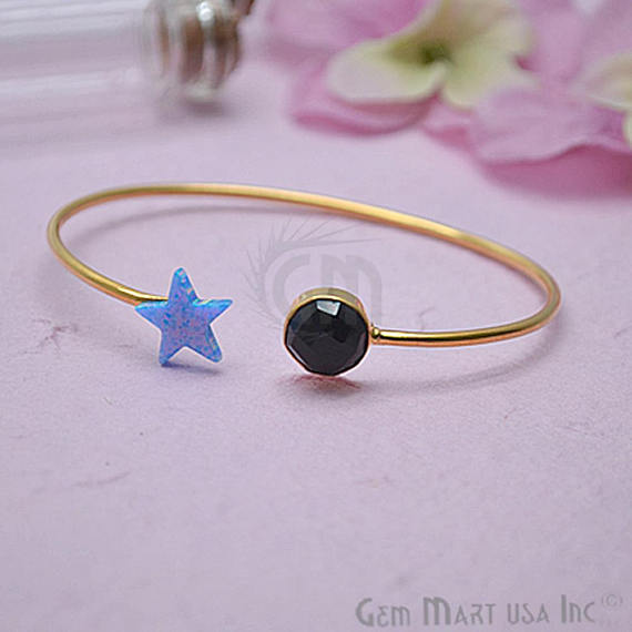 Black Onyx & Opal Handmade Adjustable Interlock Gold Plated Stacking Bangle Bracelet (DSBA-19227)