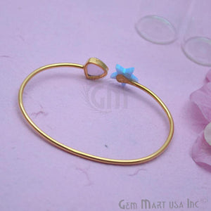 Rose Chalcedony & Opal Handmade Adjustable Interlock Gold Plated Stacking Bangle Bracelet