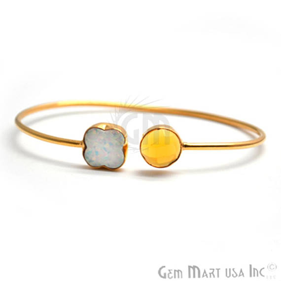 Opal & Citrine Handmade Adjustable Interlock Gold Plated Stacking Bangle Bracelet