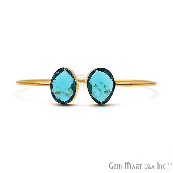 Swiss Blue Topaz Oval Shape Handmade Adjustable Gold Plated Stacking Bangle Bracelet