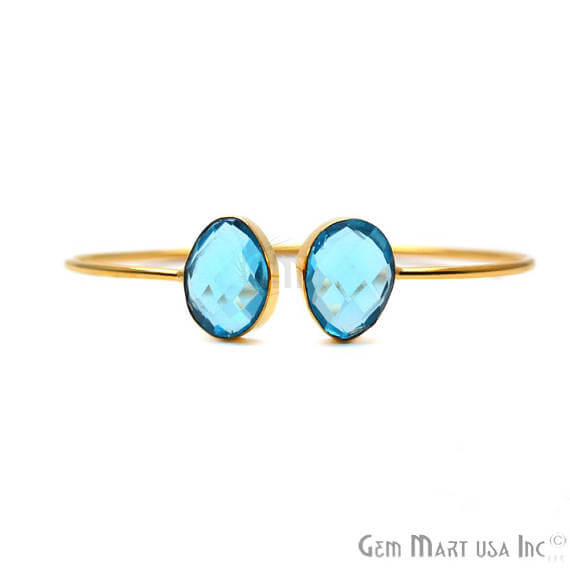 Blue Topaz Oval Shape Handmade AdjustaBle Gold Plated Stacking Bangle Bracelet