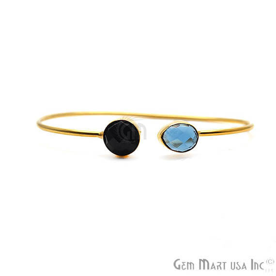 Black Onyx & Iolite Handmade AdjustaBle Gold Plated Stacking Bangle Bracelet
