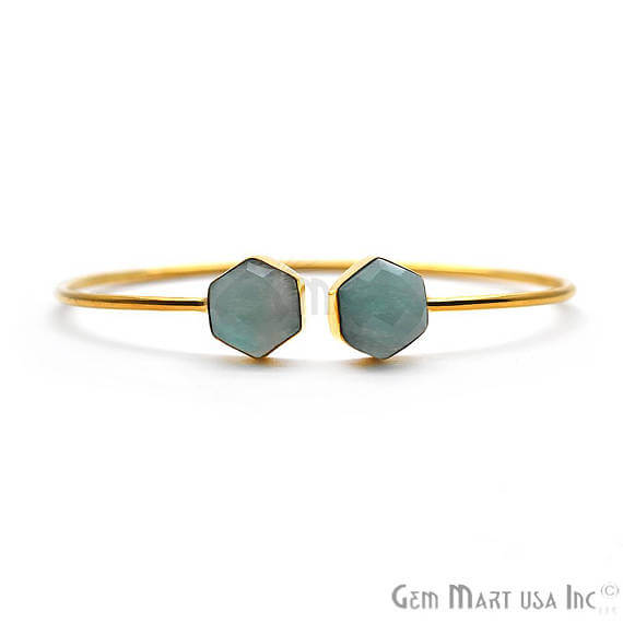Amazonite Handmade AdjustaBle Gold Plated Stacking Bangle Bracelet