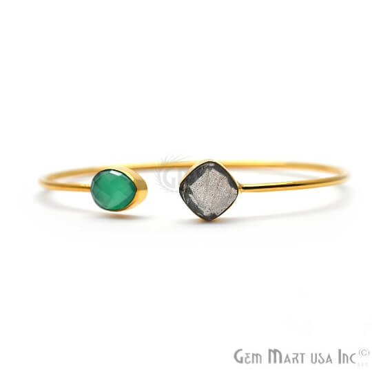 Green Onyx & Labradorite Gold Plated Adjustable Gemstone Bangle Bracelet