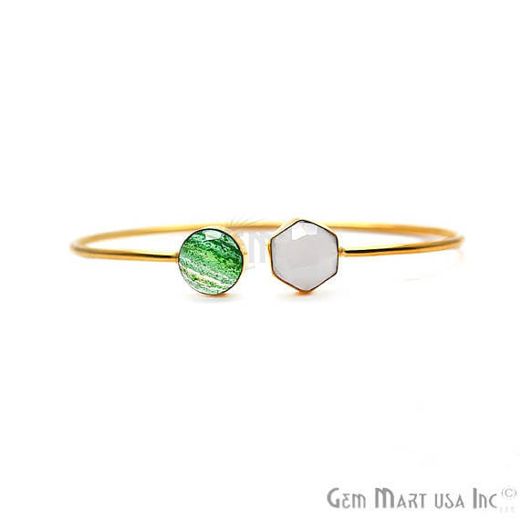 Green Infused & Rainbow Moonstone AdjustaBle Gold Plated Stacking Bangle Bracelet