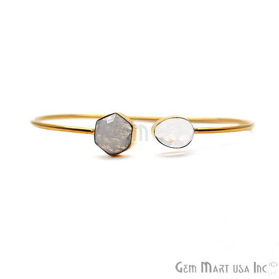 Crystal & Rainbow Moonstone Handmade AdjustaBle Gold Plated Stacking Bangle Bracelet