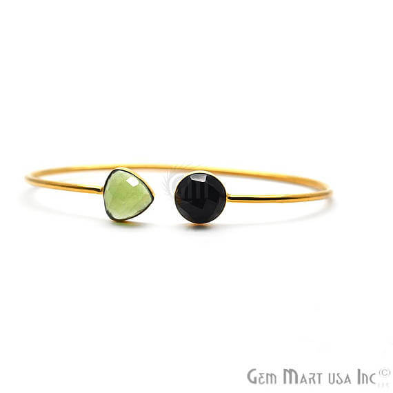 Green Chalcedony & Black Onyx AdjustaBle Gold Plated Stacking Bangle Bracelet