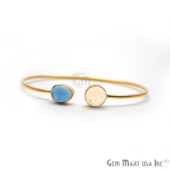 White opal & Iolite Handmade AdjustaBle Gold Plated Stacking Bangle Bracelet
