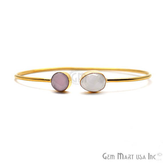 Rose Chalcedony & Rainbow Moonstone Handmade Adjustable Gold Plated Stacking Bangle Bracelet