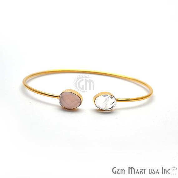 Crystal & Rose chalcedony Handmade AdjustaBle Gold Plated Stacking Bangle Bracelet