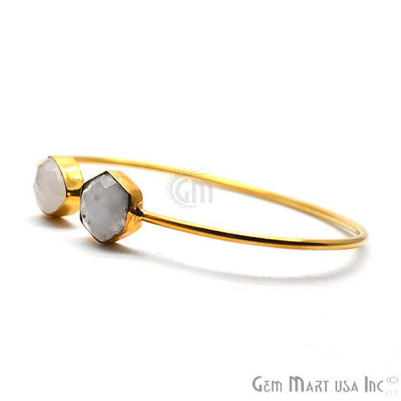 Rainbow Moonstone Handmade Adjustable Gold Plated Stacking Bangle Bracelet