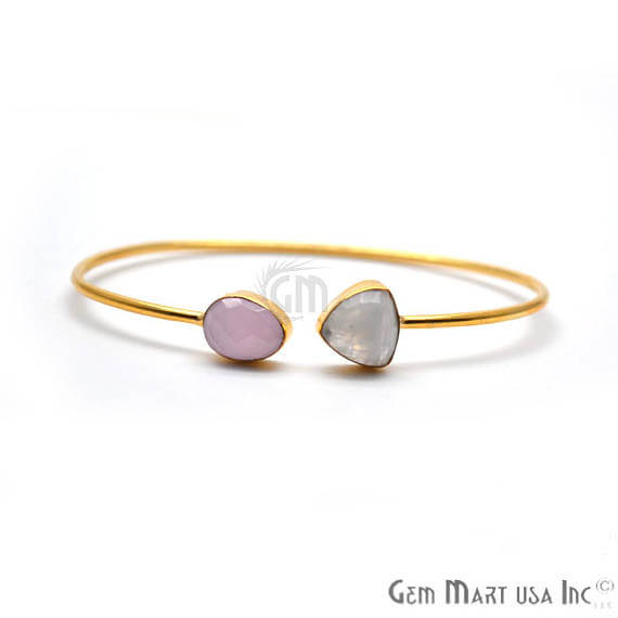 Rainbow Moonstone & Rose chalcedony Adjustable Gold Plated Stacking Bangle Bracelet