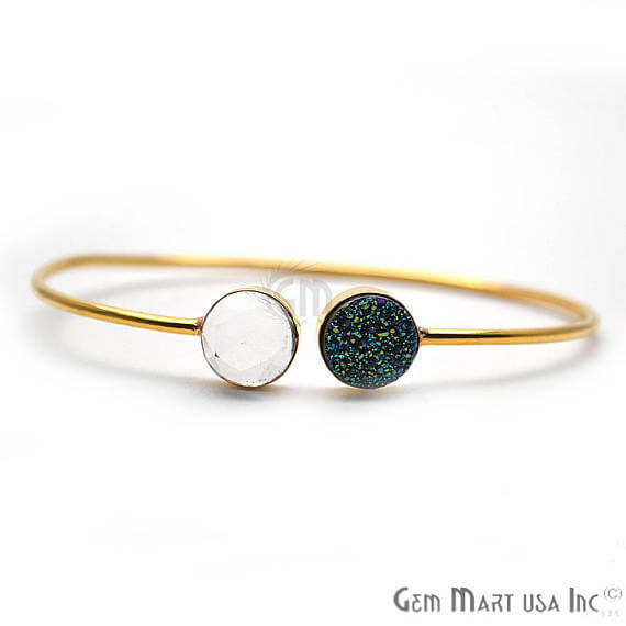 Crystal & Green Druzy Handmade AdjustaBle Gold Plated Stacking Bangle Bracelet