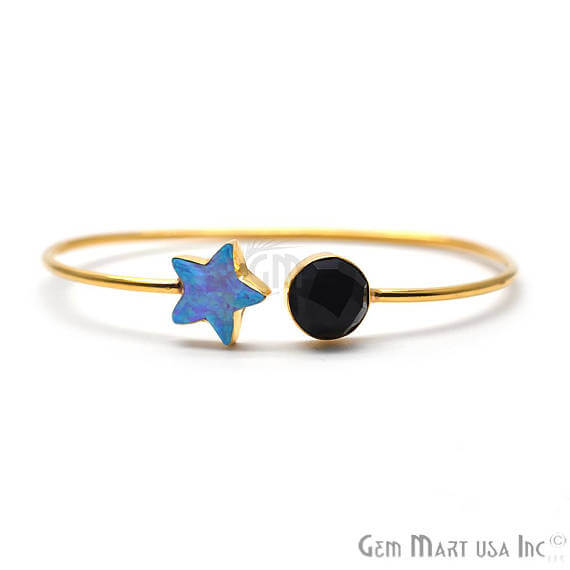 Black onyx & Opal Handmade AdjustaBle Gold Plated Stacking Bangle Bracelet
