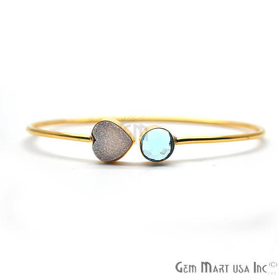 Blue Topaz & White Druzy Handmade AdjustaBle Gold Plated Stacking Bangle Bracelet