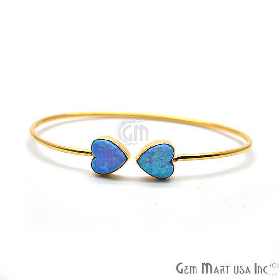 Blue Opal Handmade AdjustaBle Gold Plated Stacking Bangle Bracelet