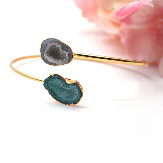 Gold Electroplated Adjustable Double Geode Druzy Stacking Bangle Bracelet