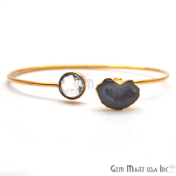 Gold Electroplated Adjustable Gemstone with Geode Druzy Stacking Bangle Bracelet