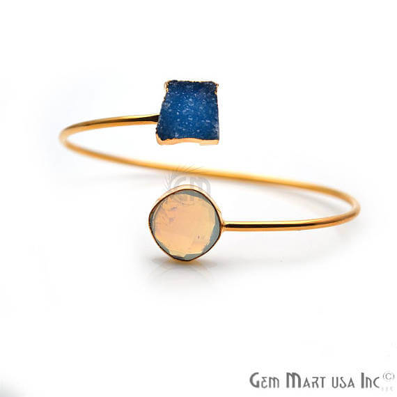 Gold Electroplated Adjustable Gemstone with Druzy Stacking Bangle Bracelet