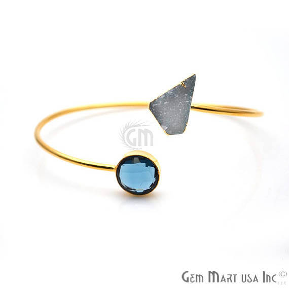 Gold Electroplated Adjustale Gemstone with Druzy Stacking Bangle Bracelet