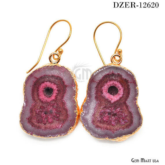 Dark Red Solar Druzy Organic Shape 33X24MM Gold Electroplated Hook Earring