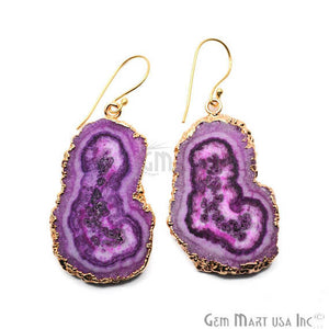 purple Solar Druzy Organic Shape 44X25MM Gold Electroplated Hook Earring - GemMartUSA