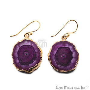 Purple Solar Druzy Organic Shape 25X32MM Gold Electroplated Hook Earring - GemMartUSA