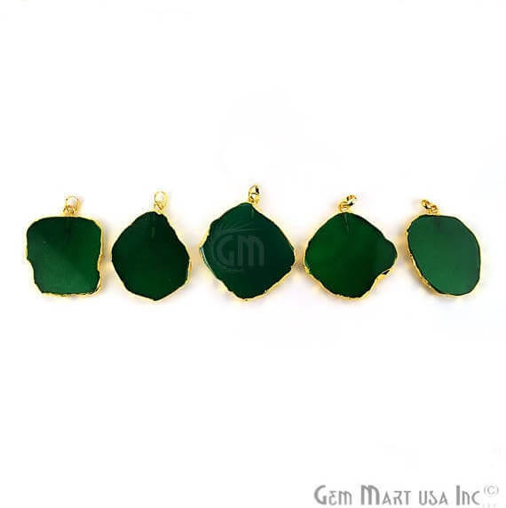 Green Onyx Petite Flat 46X42mm Gold Electroplated Gemstone Link Connector Pendant