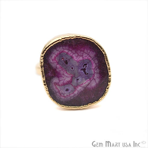 Elegant Natural Solar Druzy Gold ElectroPlated Ring, Gold Edged Fashion Jewelry (DZGR-12946)