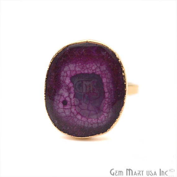 Elegant Natural Solar Druzy Gold ElectroPlated Ring, Gold Edged Fashion Jewelry (DZGR-12949)