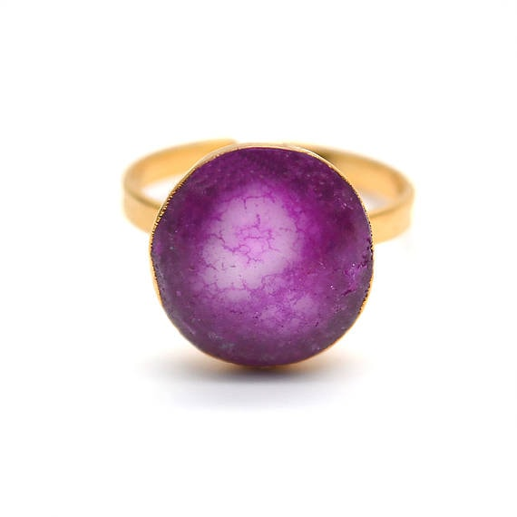 Solar Rustic Druzy Gold ElectroPlated Adjustable Ring, Gold Edged Fashion Jewelry (DZRG-12057)