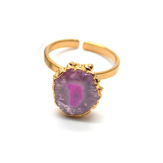 Solar Rustic Druzy Gold ElectroPlated Adjustable Ring, Gold Edged Fashion Jewelry (DZRG-12058)