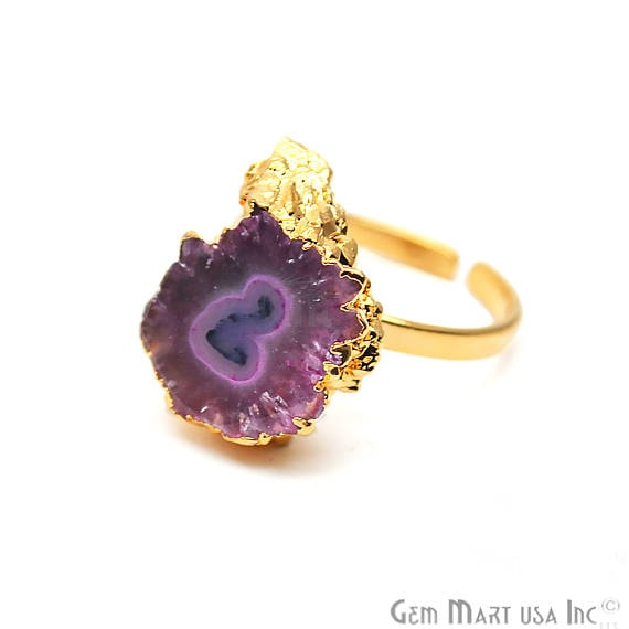 Solar Rustic Druzy Gold ElectroPlated Adjustable Ring, Gold Edged Fashion Jewelry (DZRG-12063)