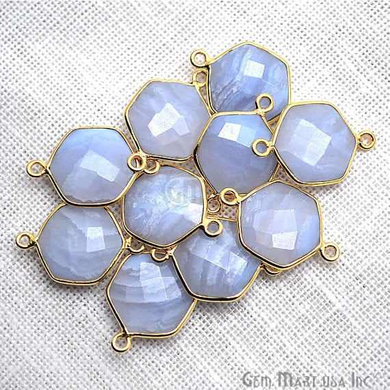 Blue Lace Agate Bezel Connector Hexagon Shape 24k Gold Plated Double Bail Connector (EL-10379)