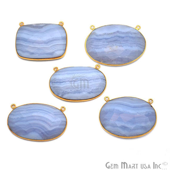 5pc Lot Blue Lace Agate Bezel Connector Fancy Shape 24k Gold Plated Double Bail Connector (EL-50003)