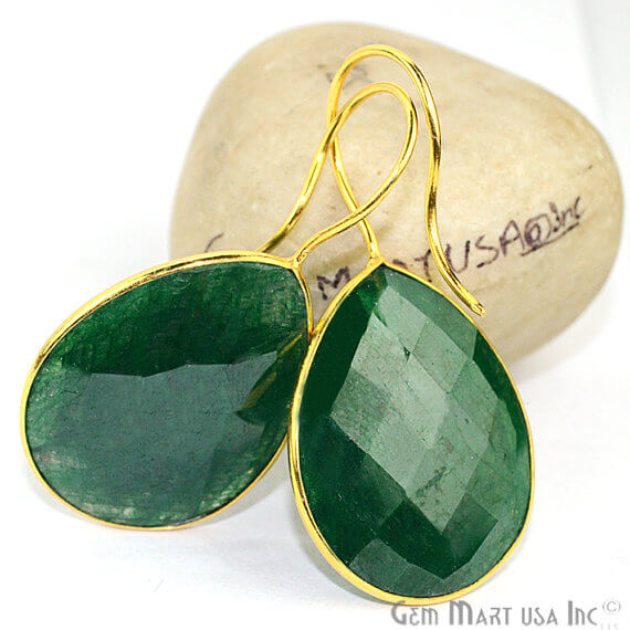 Emerald 22x43mm Gold Plated Gemstone Dangle Earrings