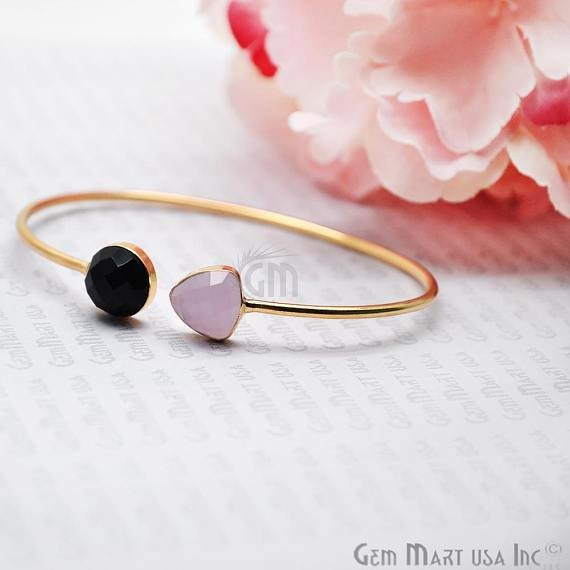Rose Chalcedony & Black Onyx Adjustable Interlock Gold Plated Stacking Bangle Bracelet
