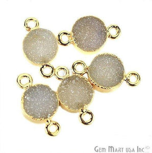 Gold Electroplated Druzy 8mm Round Shape Double Bail Gemstone Connector (Pick Your Color)